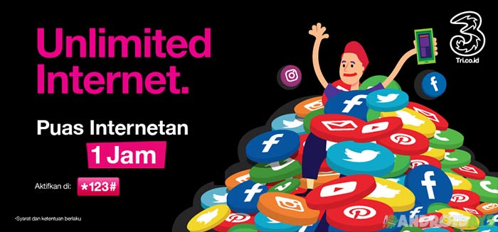 Paket Internet 3 Unlimited 1 Jam