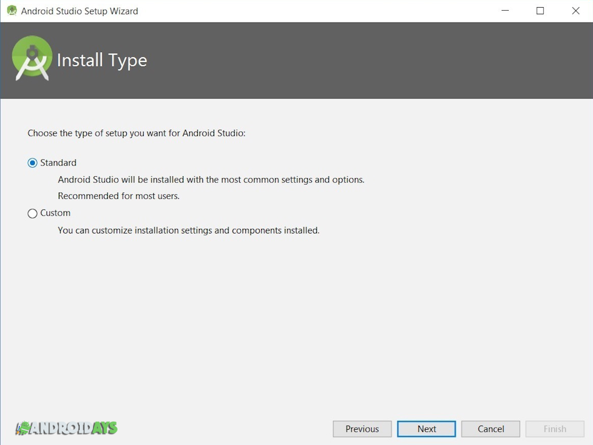 choose type install android studio