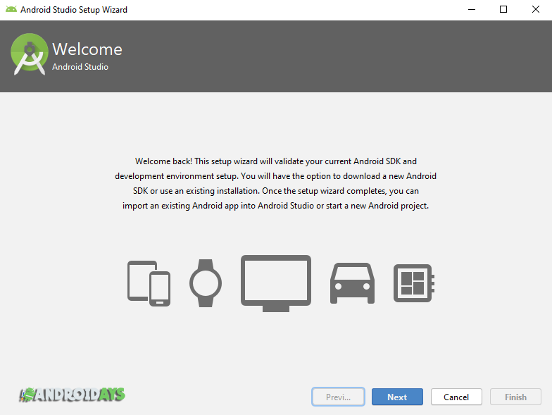 welcome android studio